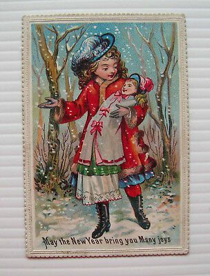 Victorian New Year's Card - Pretty Girl in Snowy Forest Holding Doll