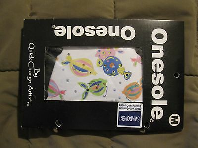 Onesole Topper Womens Size Medium Fresh Fish Print Swarovski    Free Ship!  NIP