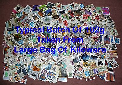 100g GB Mixed Used Stamps On-Off Paper Taken Randomly From Large Bag Of Kiloware