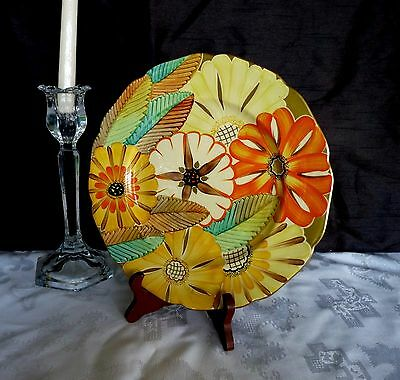 """GRAY's POTTERY 1930's Art Deco - Floral design - 10.5"""" CABINET DISPLAY PLATE"""