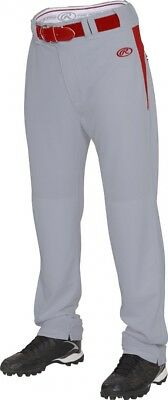 (X-Large, Blue Grey/Scarlet) - Rawlings Men's Semi-Relaxed Pants with Waist