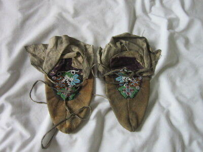 Antique 19th C. Native American Soft Sole Glass & Metal Beaded Moccasins