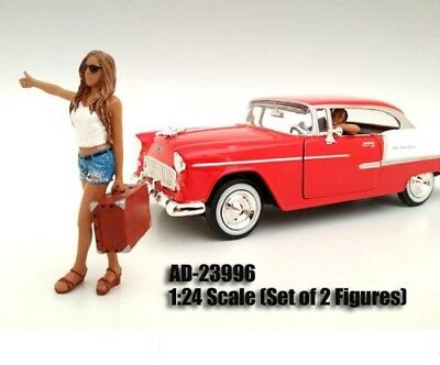 Hitchhiker 2-pc Figures Set: Girl with Driver 1:24 Scale. American Diorama