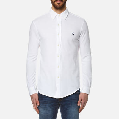 Men's White Ralph Lauren Polo Long Sleeve Slim Fit Poplin Shirt Bnwt