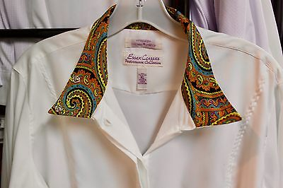 NEW Essex Classics Wrap Collar Ladies Show Shirt - Yellow & Blue Paisley XS,L,XL