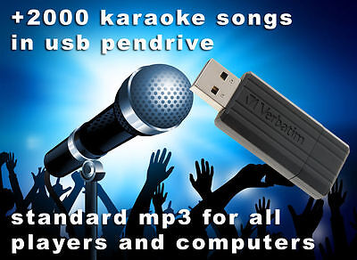 usb pen drive with +2000 most famous karaoke songs for mp3 player and computer