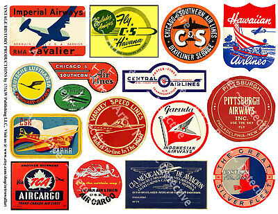 Airplane Luggage Labels, Aviation Art Stickers, Travel Air Cargo, Air Mail Label