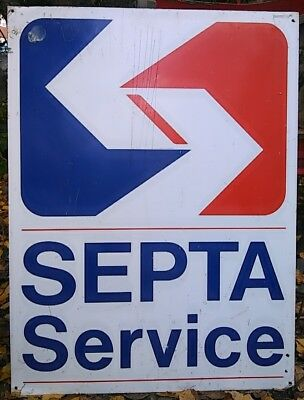 Vintage SEPTA SERVICE Philly Trolly Road Street Sign Man Cave Pa Bus