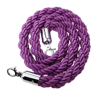 Purple Queue Rope Barrier Twisted Rope Crowd Control with Silver Ends 1.5m