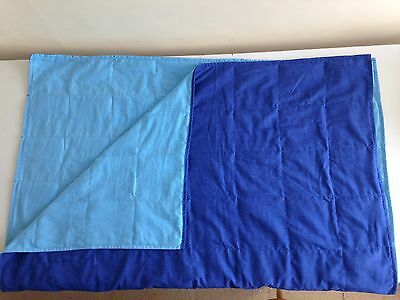 Adult Weighted Blanket 8kg  200cm X 130cm Dark Blue/ Mid blue brushed cotton