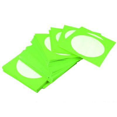 100PCS CD DVD Disc Storage Cover Clear Window Envelope Holder Sleeves Green