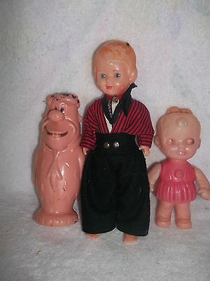 "3 Celluloid [Hollow Plastic] Dolls 5""-8""  Fred Flintstone  Dutch Boy & Baby"