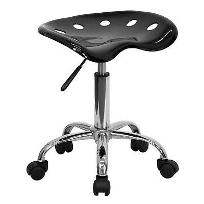 Flash Furniture (LF-214A-BLACK-GG) Vibrant Black Tractor Seat and Chrome Stoo...