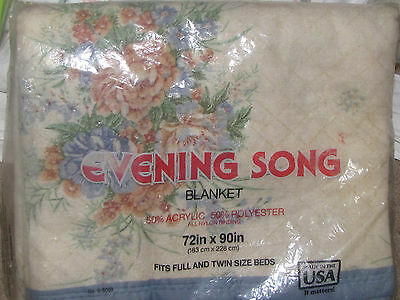 VINTAGE ACRYLIC Blanket Floral Bedding EVENING SONG Blanket Made in USA