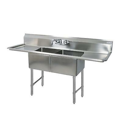 "BK Resources 99""x29.5"" Two Compartment 16 Gauge Stainless Steel Sink"