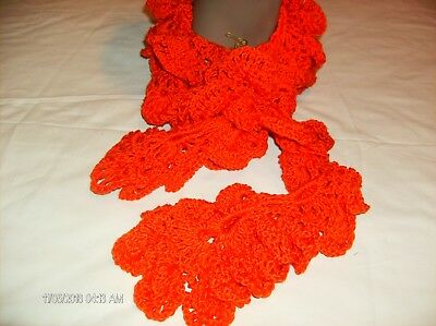 Crocheted adult size orange scarf