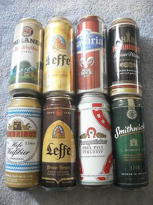 VINTAGE LOT OF 8 FOREIGN/INTERNATIONAL 16oz COLLECTIBLE BEER CANS.