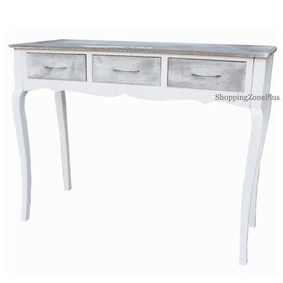3 Drawer Elegant Distresses Grey & White Console Table Lobby Hall Dressing Desk