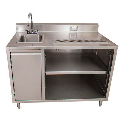"""BK Resources BEVT-3048L 48""""x30"""" Stainless Steel Beverage Table w/ Sink on Left"""