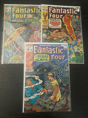 FANTASTIC FOUR #90,100,109 JACK KIRBY ART Bronze age lot 3.