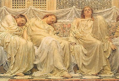 Richly Draped Art Nouveau Ladies In Pale Cream Relaxing Beauty Sleep [A4 Print]