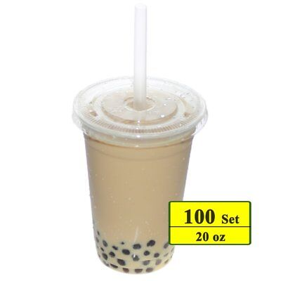 Benail 100 Sets 20 oz Clear Plastic Cups with Lids and Straws Disposable Cups