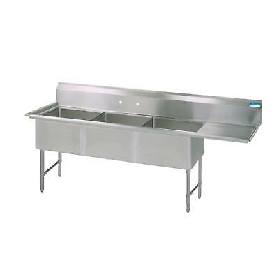 "BK Resources 100""x29.5"" Three Compartment 16 Gauge Stainless Steel Sink"