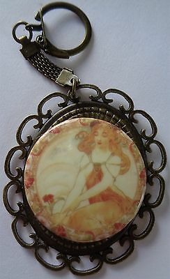 Beautiful Large Handmade Porcelain Cameo Key Ring Large Rustic Art Nouvea Lady