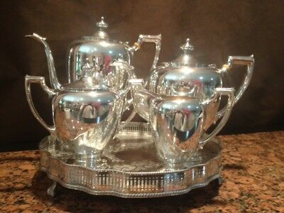 Reed & Barton Sterling Tea Service with Silver on Copper Tray