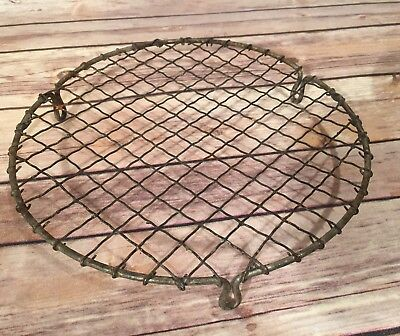 19TH CENTURY ANTIQUE WOVEN TRIVET Wirework Round
