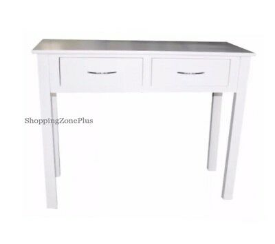 Shabby Chic 2 Drawer White Console Table Lobby Hall Room Dressing Side End Desk