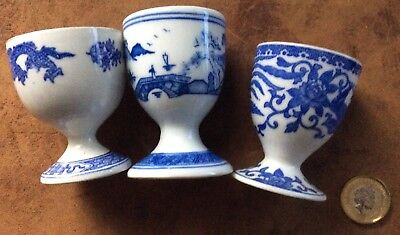 Old 3 Blue And White Porcelain Egg Cups,noritake,cauldon Dragon,chinese, Look!