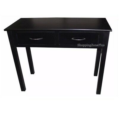 Shabby Chic 2 Drawer Black Console Table Lobby Hall Room Dressing Side End Desk