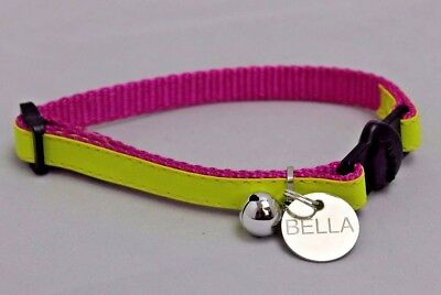 GLOSS REFLECTIVE YELLOW CAT, KITTEN COLLAR WITH BELL AND ID TAG ENGRAVED 20mm