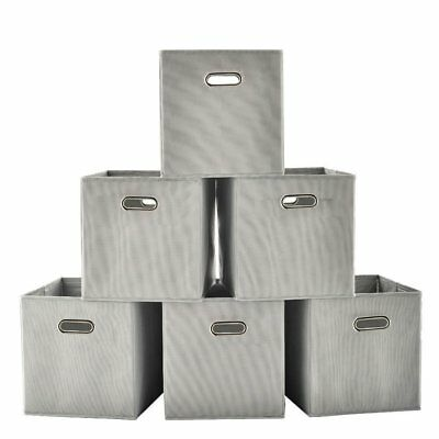 VCCUCINE Foldable Fabric Cube Storage Bins, 6 Pack Grey Cubeicals Containers