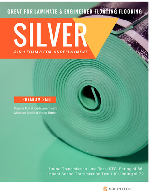 Quiet-Stride Premium 3mm Foam & Foil Silver Underlayment [Sound Test Rating 72]