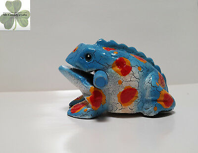 Frog, Guiro Rasp, Wooden Musical Toy, Blue with Orange/Red Spots 4 inch size
