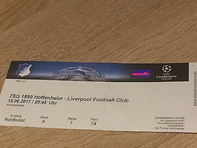 TSG HOFFENHEIM V LIVERPOOL UEFA CHAMPIONS League 15.08.2017-ticket stub
