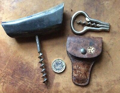 Two Old Corkscrews Folding In Leather Case Port Erin And Horn Handle Mefa  Look!