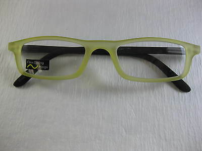 SOFT TOUCH Rubber Flexible Yellow Rectangle Reading Glasses Spring Temples +1.50