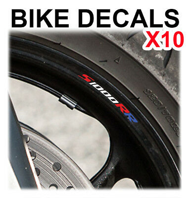 10X Bmw S 1000 Rr Motorcycle Bike Wheel Stickers Decals Tape Rims