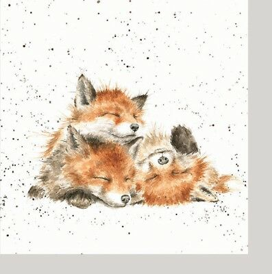 4 Vintage Paper Napkins Party Lunch for Decoupage Wrendale Designs, Family Foxes