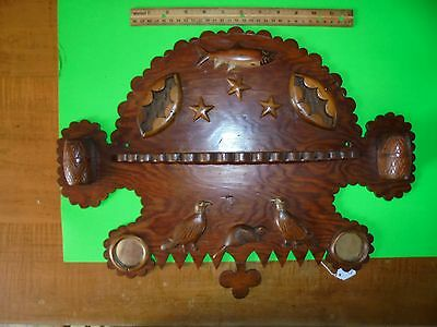 "Mic Mac Tribe ""pipe Shelf"" Wood Craved Trout,eagle,beaver, New Foundland?,canada"