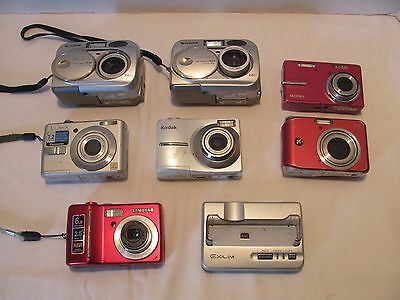 Lot of 7 Digital Cameras FOR PARTS / REPAIR / 2 WORKING Panasonic Kodak Samsung