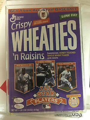 Griffey/Thomas/Ripkin Signed Wheaties Box W/JSA for all 3 Players. Comes W/case