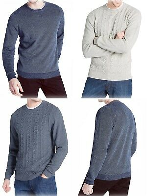 New Ex M&S Mens Pure Cotton Textured Jumper CrewNeck Sweater Pullover Size S-XXL