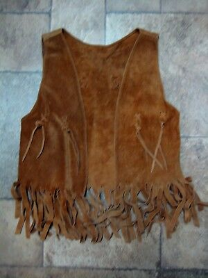Kid's Brown Suede Leather Western Vest With Fringe
