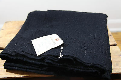 "Vintage Black Wool Fabric Bergdorf Goodman Boucle Woven Fabric 49""W 2.5Y 50s 60s"