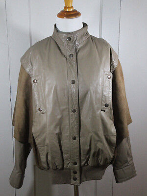 Vintage Jordache Brown Tan Leather Bomber Jacket 70s 80s M/L 10 Punk Grunge