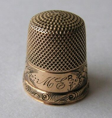 Antique 14K Gold Thimble Engraved Monogrammed 3.3 Grams